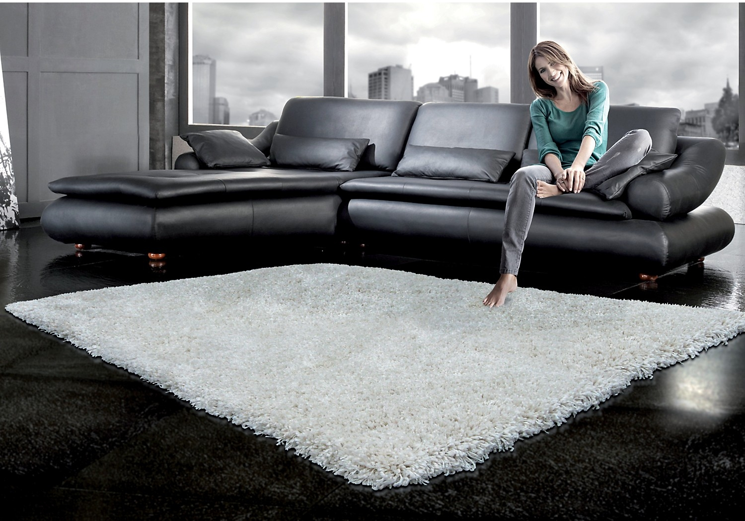 Loft shag area rug 5 x 8 off white freedom rent to own - White living room rug ...