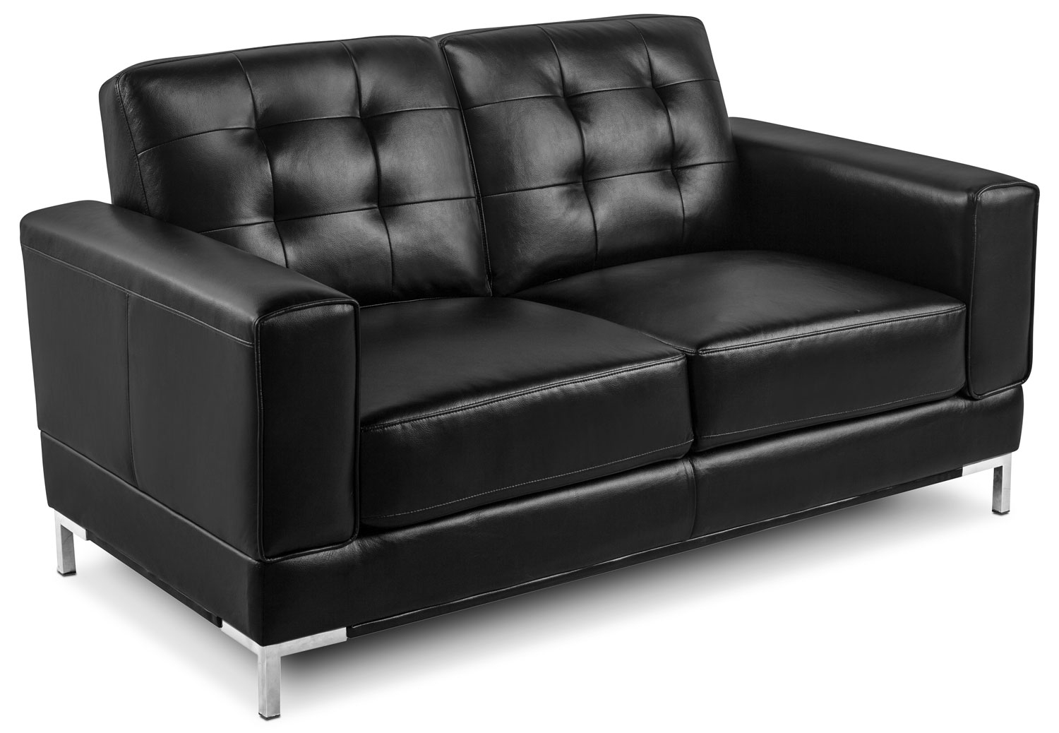 Myer Leather-Like Fabric Sofa And Loveseat – Black